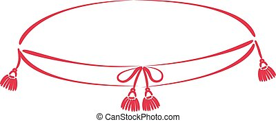 Pillow with tassels sketched silhouette isolated on white...