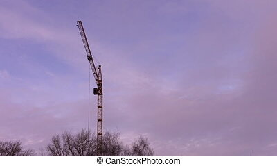 Crane sways in the wind - Timelapse: Crane sways in the wind...