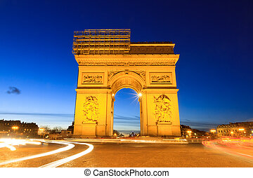 Blue hour Arc - Beautiful night view of the Arc de Triomphe...