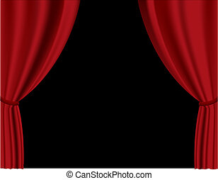 Red curtain in theater Vector
