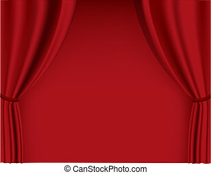 Red curtain in theater. Vector