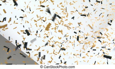 Confetti Falling on White Wall - Celebration party with lots...