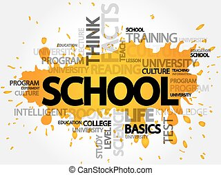 School word cloud, presentation background