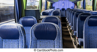 travel bus interior - transport, tourism, road trip and...
