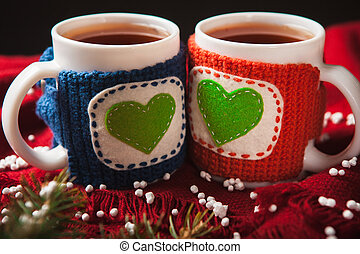 Two warm cups of tea or coffee with heart for Valentine's...