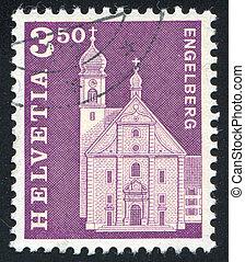 Benedictine Abbey - SWITZERLAND - CIRCA 1967: stamp printed...