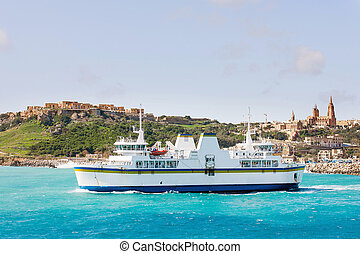 Port of Mgarr on the small island of Gozo. Ferry goes from...