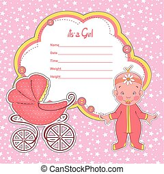 Baby shower card newborn girl with stroller.