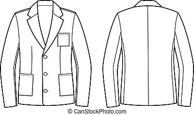 Jacket - Vector illustration of jacket. Front and back views