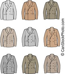 Business jackets - Vector illustration of double-breasted...