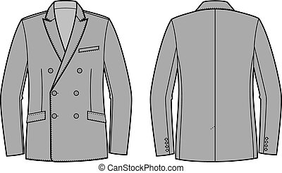 Business jacket - Vector illustration of double breasted...
