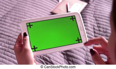 Green Screen Monitor On Ipad Tablet - Chinese teen, female...