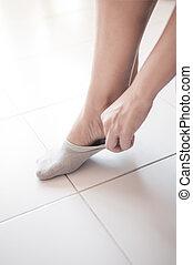 Sock wearing - Woman wearing socks