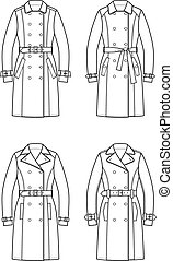 Trench coat - Vector illustration. Set of trench coats
