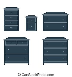 Dressers for clothes. Dark on white background