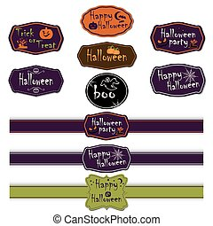 Vector collection of halloween ribbons and labels.