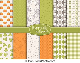 Halloween collection of seamless pattern - Collection of...