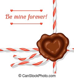 Greeting card with envelope and sealing wax. Concept can be used for Valentines Day, wedding or love confession message