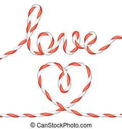 Greeting card with heart from rope. Concept can be used for...