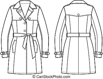 Trench coat - Vector illustration of trench coat. Front and...