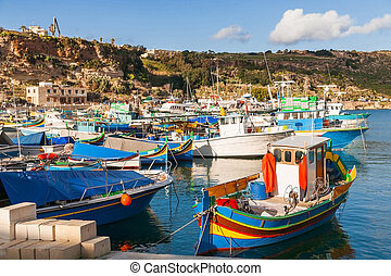 Port of Mgarr on the small island of Gozo, Malta....