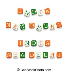 India, New Delhi with colorful blocks isolated on a white...