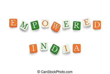 Empowered India with colorful blocks isolated on a white...