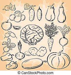 Vegetables Pictograms Set - Set Vegetables, Black Pictograms...
