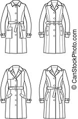 Trench coat - Vector illustration of trench coats