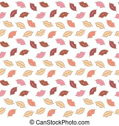 Vector seamless background of body parts, lips - Vector...