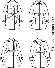 Trench coat - Vector illustration of trench coat
