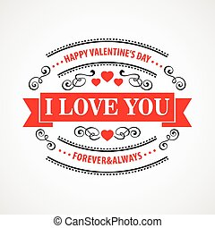 Happy Valentine Day Typographical Background. Vector...