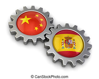 Chinese and Spanish flags on gears - Chinese and Spanish...