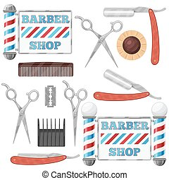 Barber shop tools - Set of badges and design element...