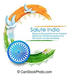 Dove flying on Indian tricolor flag background