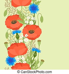 Seamless floral pattern with pretty spring flowers...