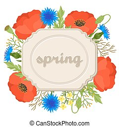 Floral background with pretty spring flowers. Template for...