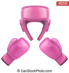 Boxing helmet and gloves Self-defense Sport goods, defense...
