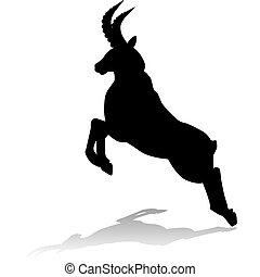 Silhouette of a mountain goat, leap - Silhouette of a...