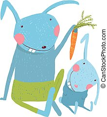 Hare and leveret eating carrot - Animal parent bunny with...