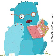 Bear parent reading book to kid - Animal cartoon, teddy read...