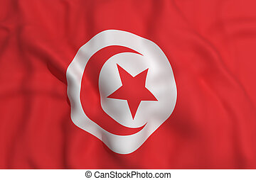 Tunisia flag - 3d rendering of a Tunisia flag waving