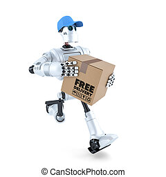 3D Courier Robot with package. Free delivery concept. Isolated. Contains clipping path