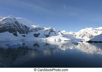 Beautiful landscape in Antartica in morning light Some snow...