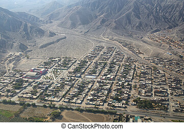 Aerial view of Nazca town in Peru It is the largest town in...