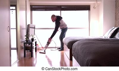 Single Man People Cleaning Home - Adult Caucasian people...