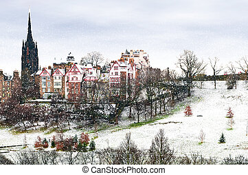 Winter scene with snow - Winter Snowfall in Edinburgh...