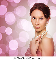 Beautiful woman with pearl beads - Beautiful woman with...