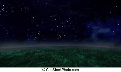 night sky and grassland time lapse - time lapse of 3D night...