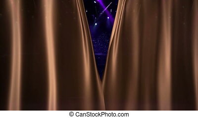 Brown Curtain Opening at concert camera flash light -...